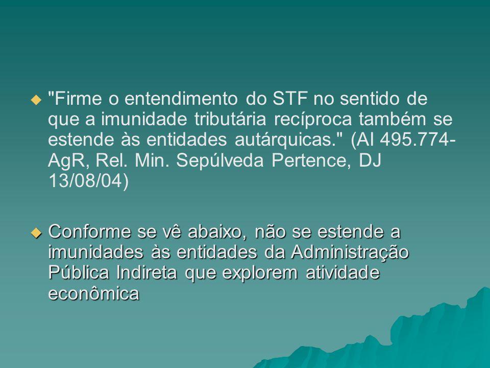 Firme o entendimento do STF no sentido de que a imunidade tributária recíproca também se estende às entidades autárquicas. (AI 495.774-AgR, Rel. Min. Sepúlveda Pertence, DJ 13/08/04)