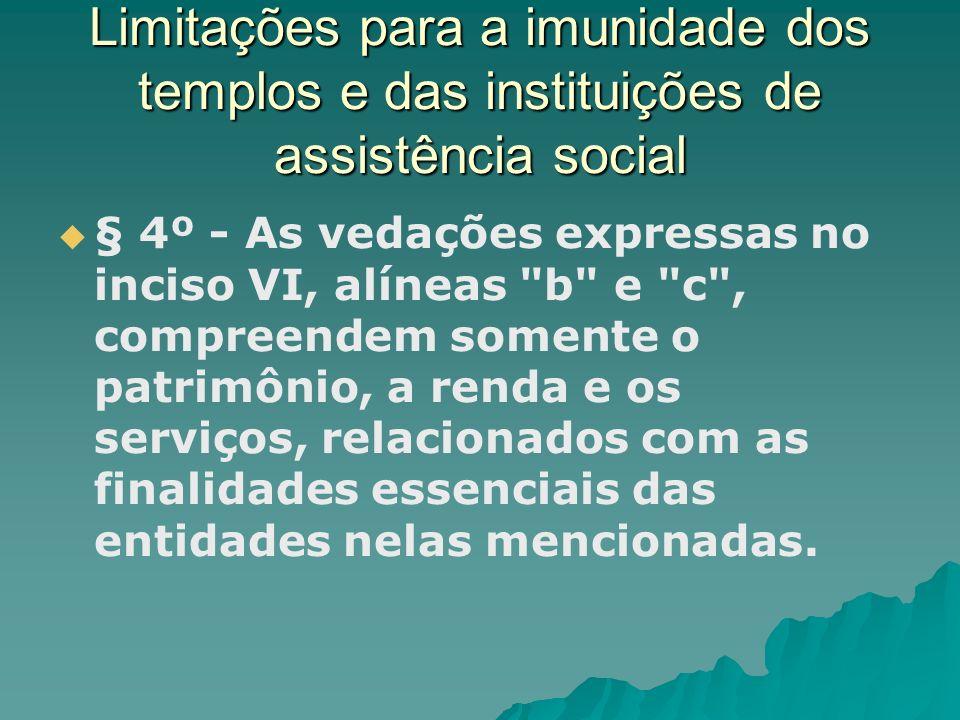 Limitações para a imunidade dos templos e das instituições de assistência social
