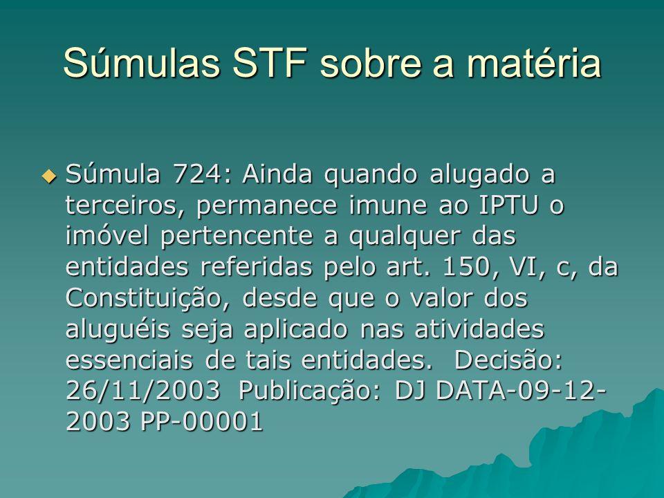 Súmulas STF sobre a matéria