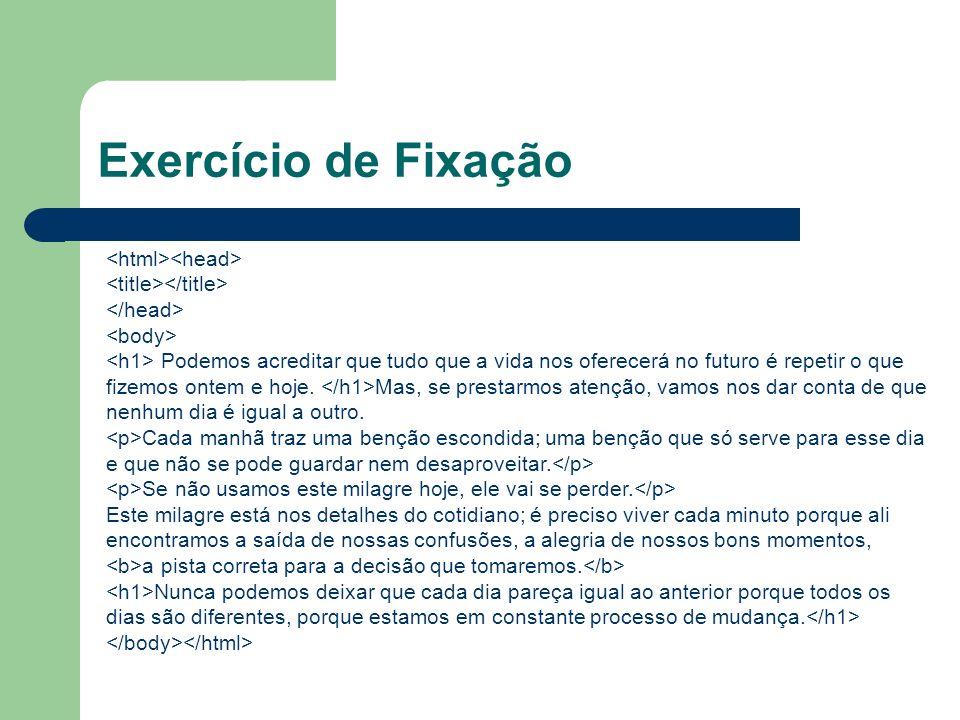 Exercício de Fixação <html><head>