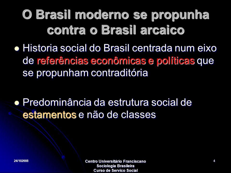 O Brasil moderno se propunha contra o Brasil arcaico