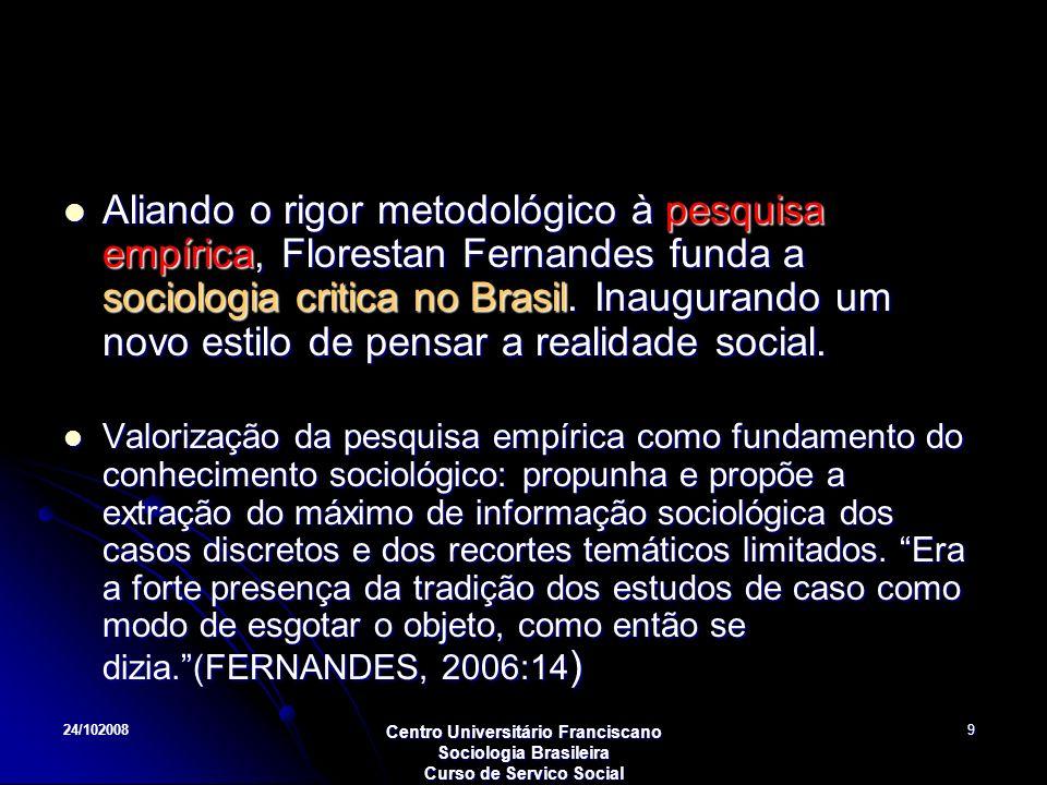 Aliando o rigor metodológico à pesquisa empírica, Florestan Fernandes funda a sociologia critica no Brasil. Inaugurando um novo estilo de pensar a realidade social.