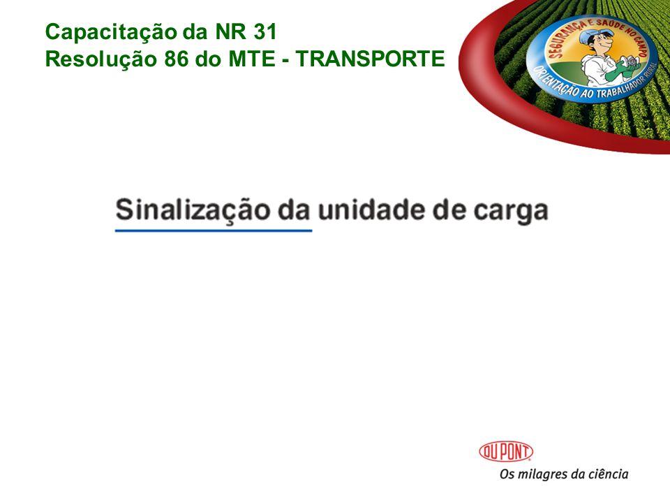 Capacitação da NR 31 Resolução 86 do MTE - TRANSPORTE