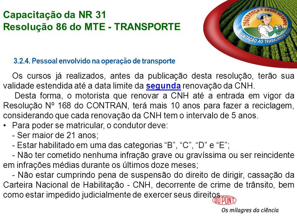 Resolução 86 do MTE - TRANSPORTE