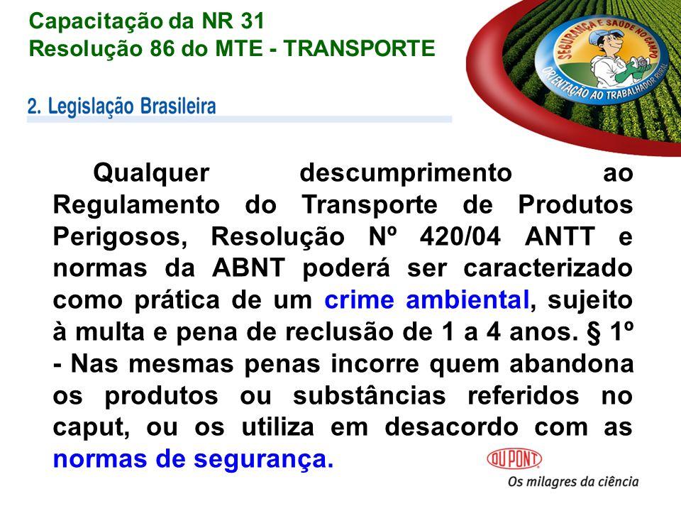 Capacitação da NR 31 Resolução 86 do MTE - TRANSPORTE.