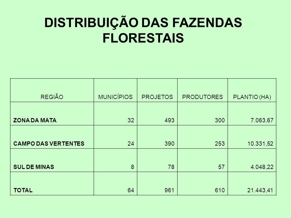 DISTRIBUIÇÃO DAS FAZENDAS FLORESTAIS