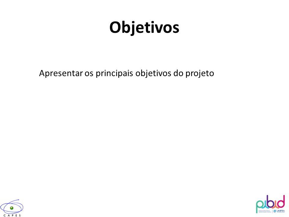 Objetivos Apresentar os principais objetivos do projeto