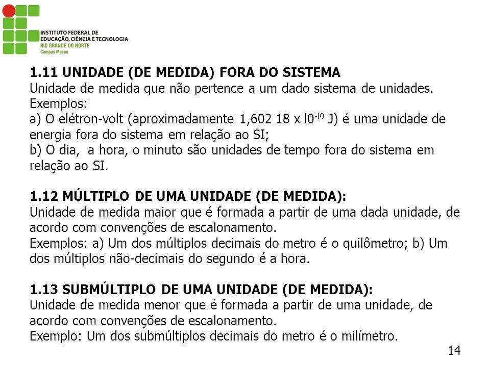 1.11 UNIDADE (DE MEDIDA) FORA DO SISTEMA