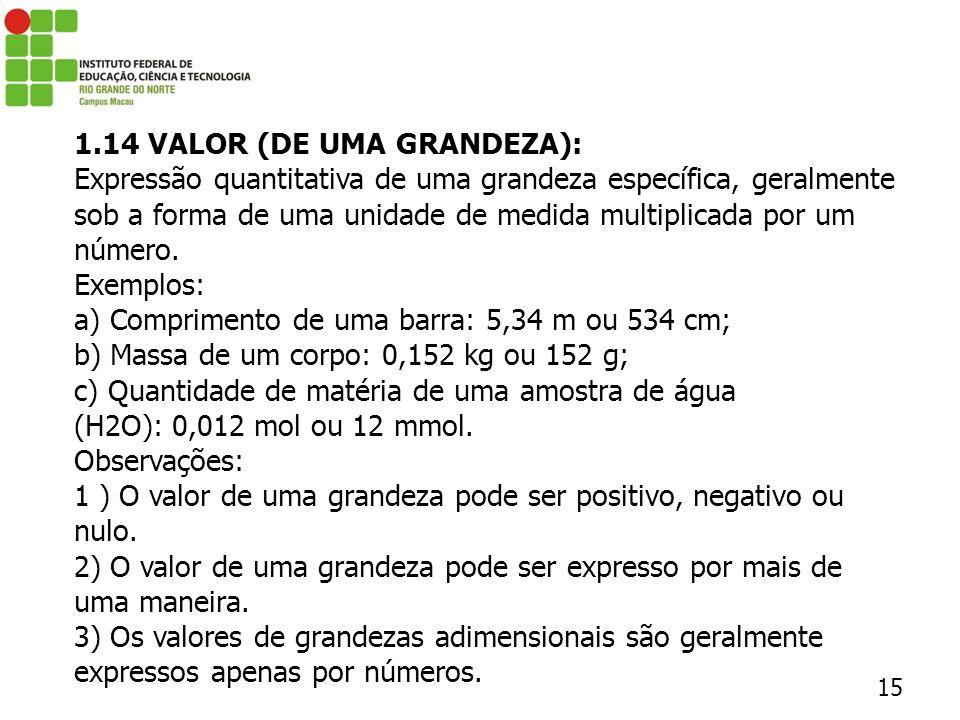 1.14 VALOR (DE UMA GRANDEZA):