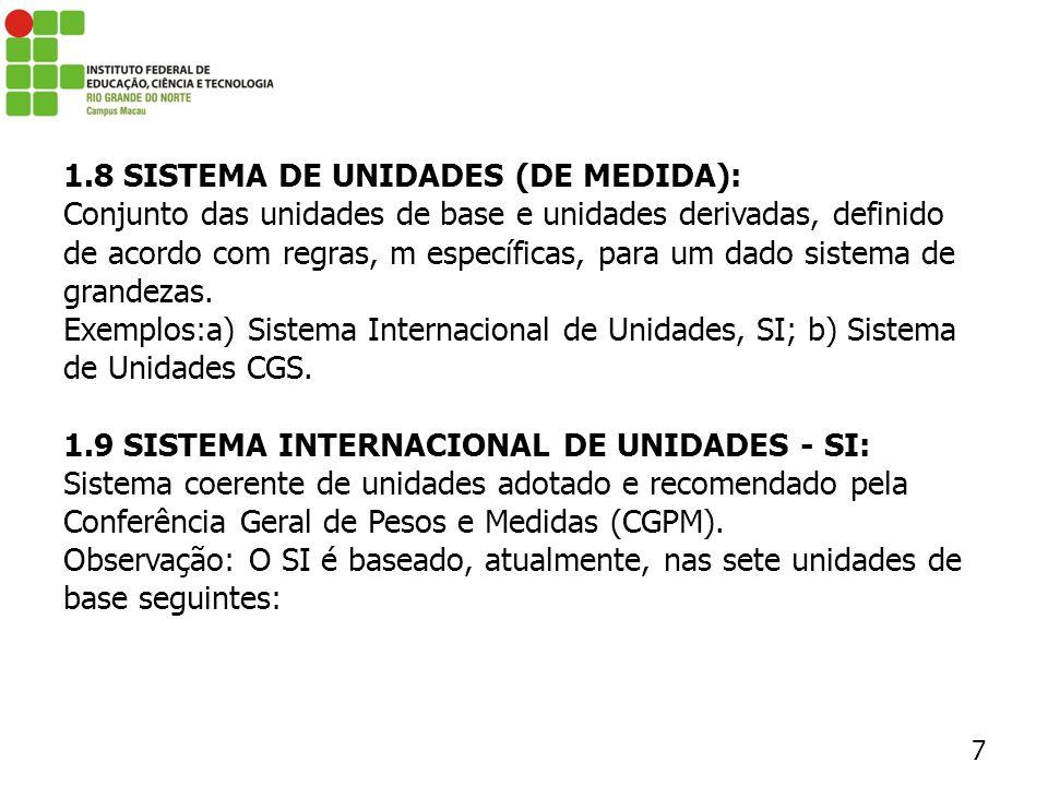 1.8 SISTEMA DE UNIDADES (DE MEDIDA):