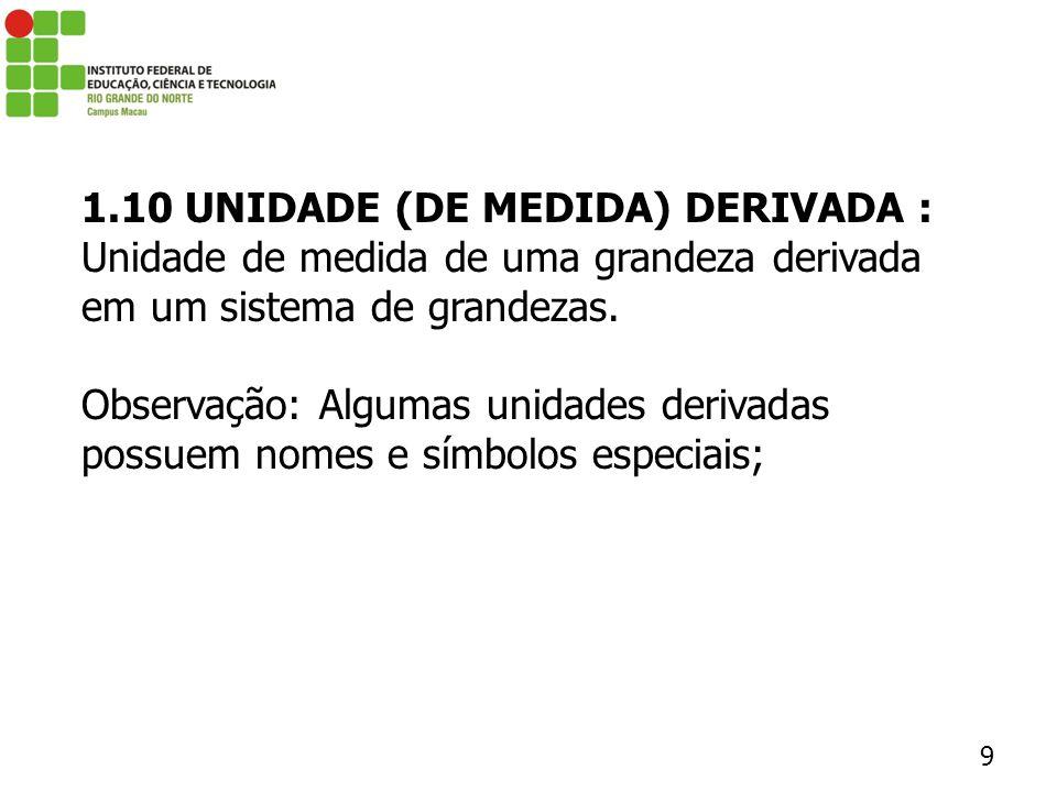 1.10 UNIDADE (DE MEDIDA) DERIVADA :