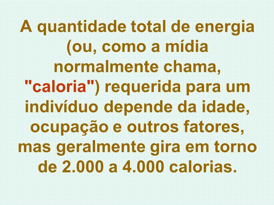 A quantidade total de energia (ou, como a mídia normalmente chama, caloria ) requerida para um indivíduo depende da idade, ocupação e outros fatores, mas geralmente gira em torno de 2.000 a 4.000 calorias.