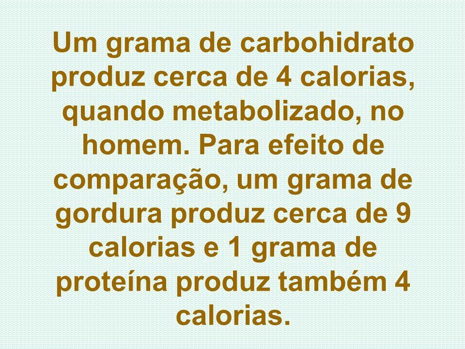 Um grama de carbohidrato produz cerca de 4 calorias, quando metabolizado, no homem.