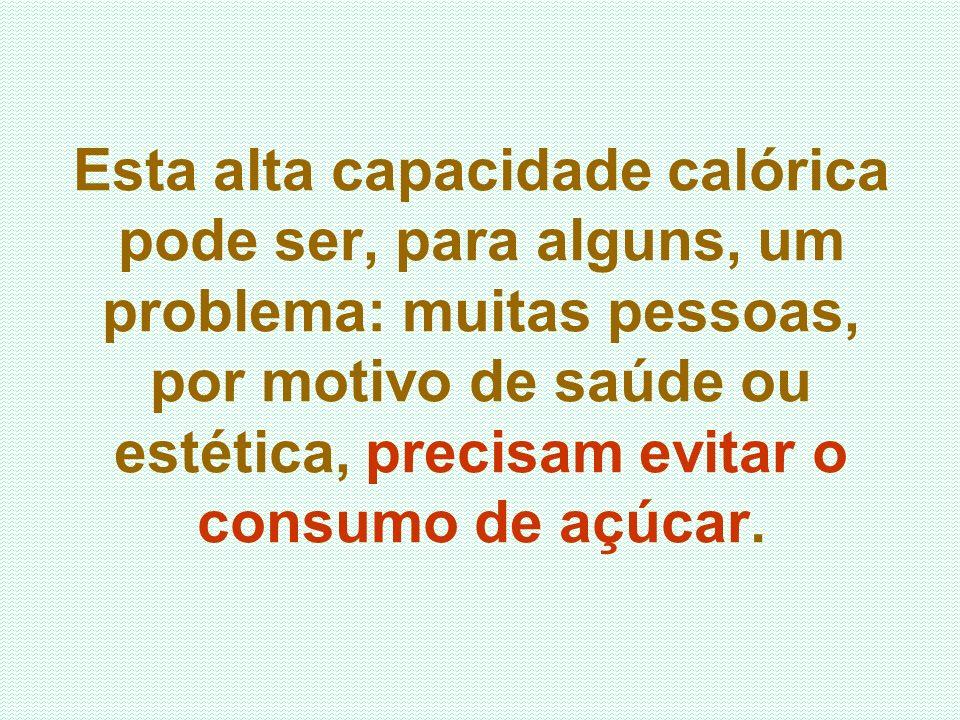 Esta alta capacidade calórica pode ser, para alguns, um problema: muitas pessoas, por motivo de saúde ou estética, precisam evitar o consumo de açúcar.
