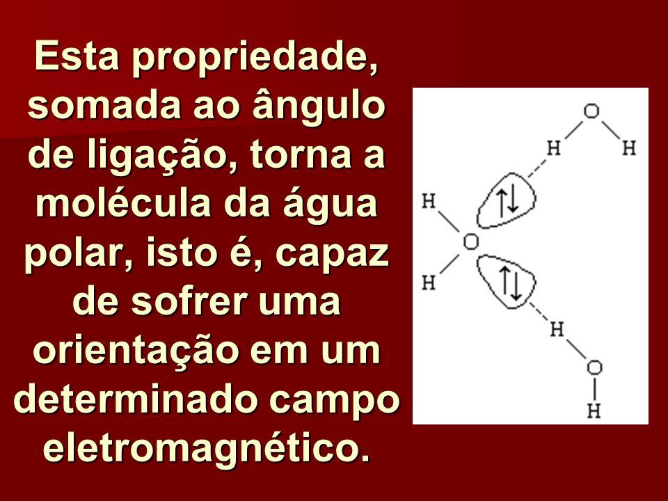 Esta propriedade, somada ao ângulo de ligação, torna a molécula da água polar, isto é, capaz de sofrer uma orientação em um determinado campo eletromagnético.