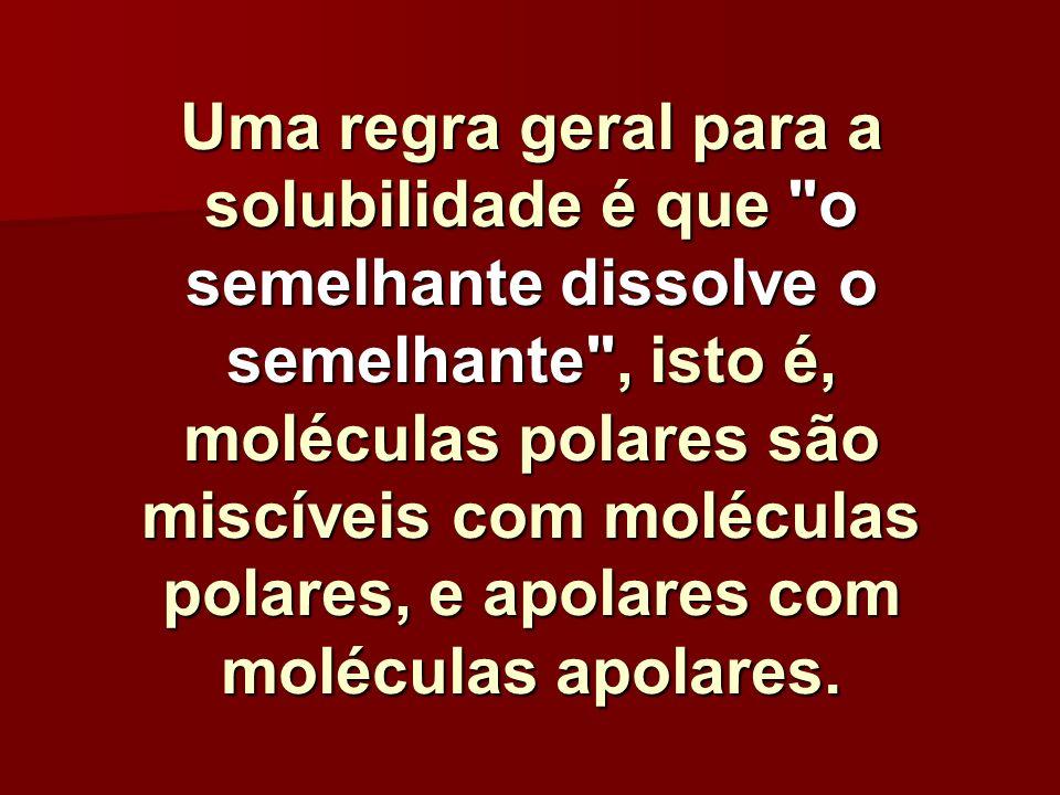 Uma regra geral para a solubilidade é que o semelhante dissolve o semelhante , isto é, moléculas polares são miscíveis com moléculas polares, e apolares com moléculas apolares.