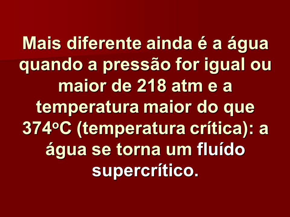 Mais diferente ainda é a água quando a pressão for igual ou maior de 218 atm e a temperatura maior do que 374oC (temperatura crítica): a água se torna um fluído supercrítico.