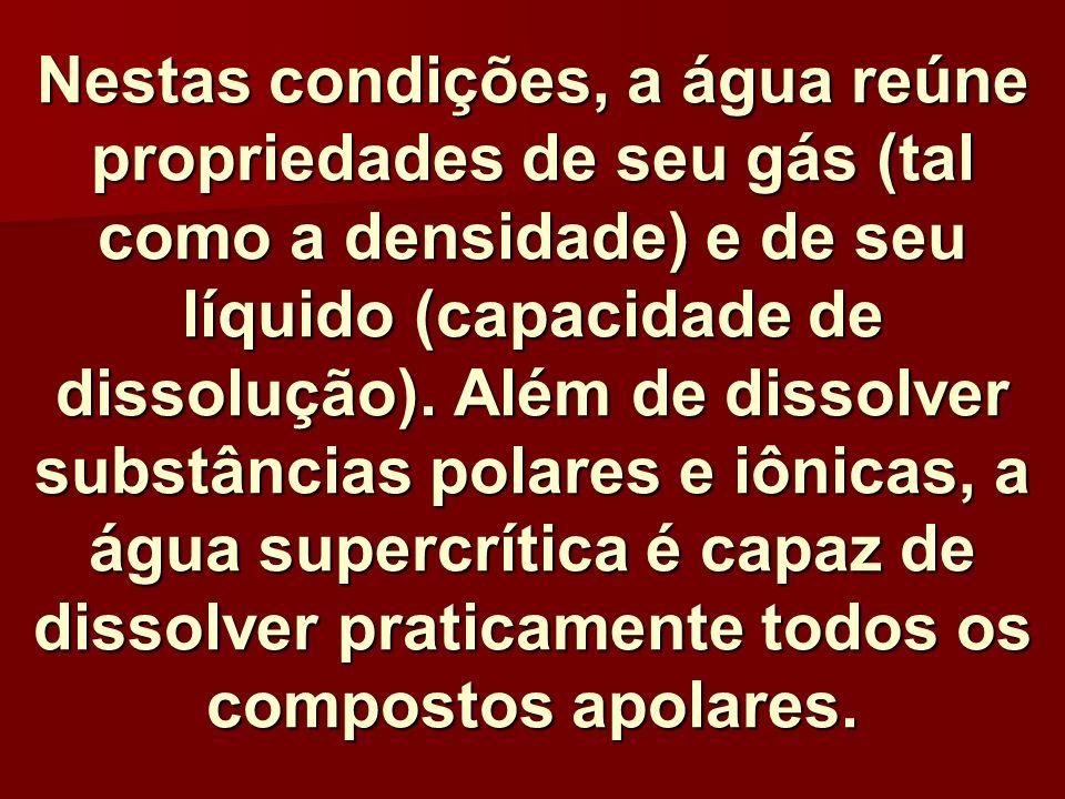 Nestas condições, a água reúne propriedades de seu gás (tal como a densidade) e de seu líquido (capacidade de dissolução).