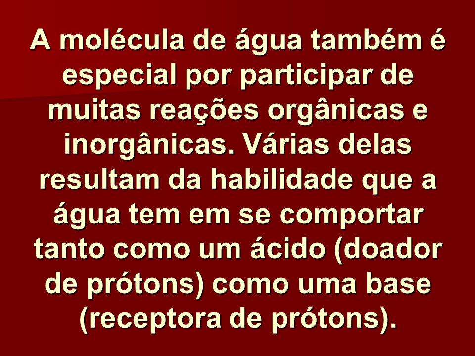 A molécula de água também é especial por participar de muitas reações orgânicas e inorgânicas.