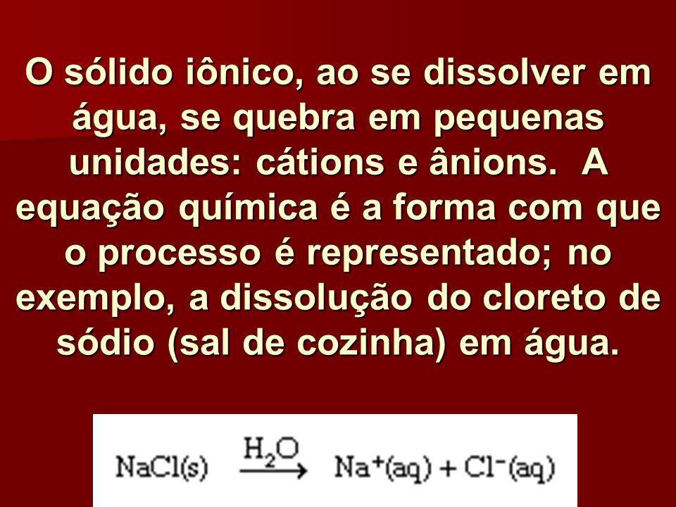 O sólido iônico, ao se dissolver em água, se quebra em pequenas unidades: cátions e ânions.