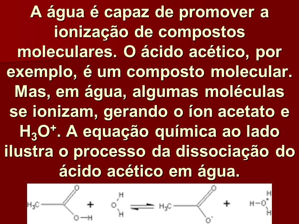 A água é capaz de promover a ionização de compostos moleculares