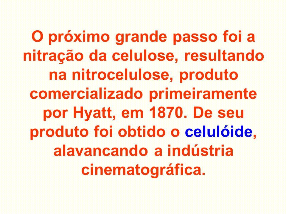 O próximo grande passo foi a nitração da celulose, resultando na nitrocelulose, produto comercializado primeiramente por Hyatt, em 1870.