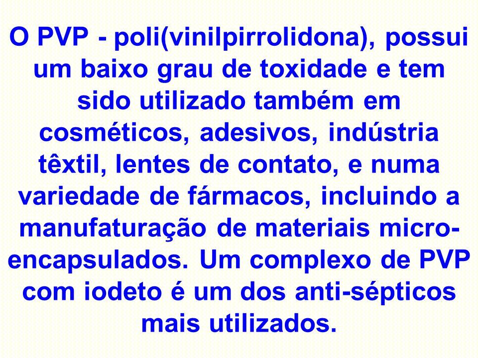 O PVP - poli(vinilpirrolidona), possui um baixo grau de toxidade e tem sido utilizado também em cosméticos, adesivos, indústria têxtil, lentes de contato, e numa variedade de fármacos, incluindo a manufaturação de materiais micro-encapsulados.