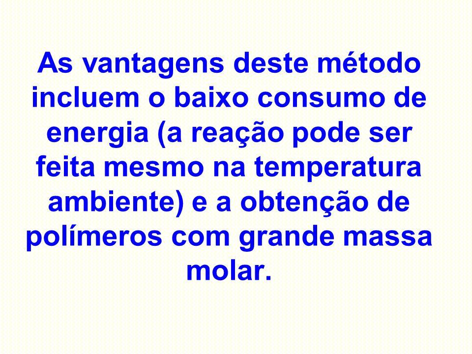 As vantagens deste método incluem o baixo consumo de energia (a reação pode ser feita mesmo na temperatura ambiente) e a obtenção de polímeros com grande massa molar.