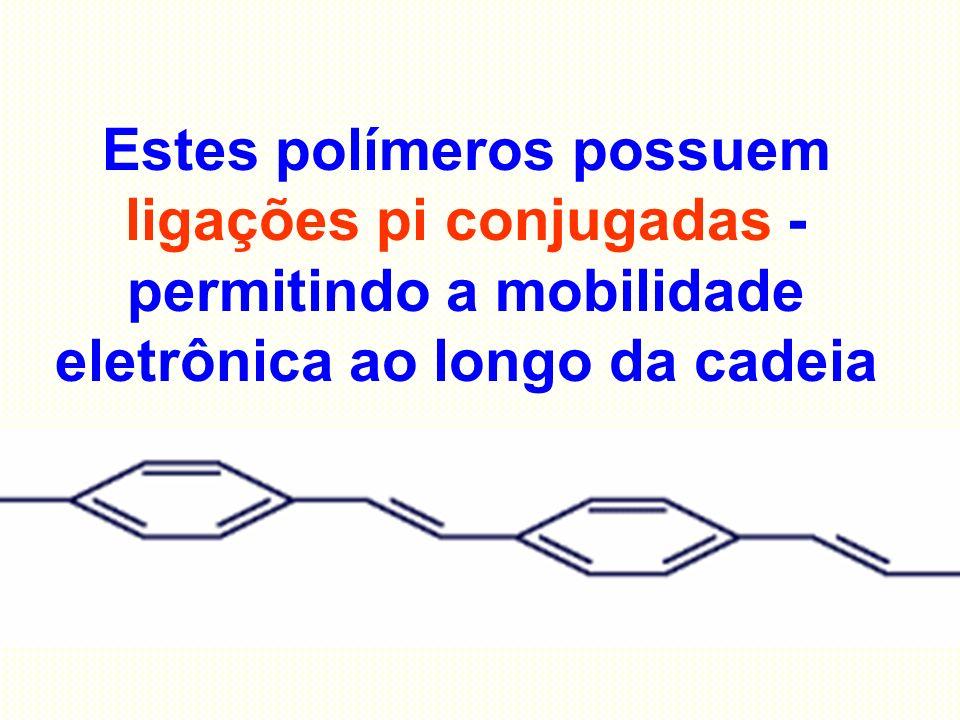 Estes polímeros possuem ligações pi conjugadas - permitindo a mobilidade eletrônica ao longo da cadeia