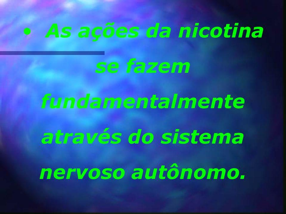 As ações da nicotina se fazem fundamentalmente através do sistema nervoso autônomo.