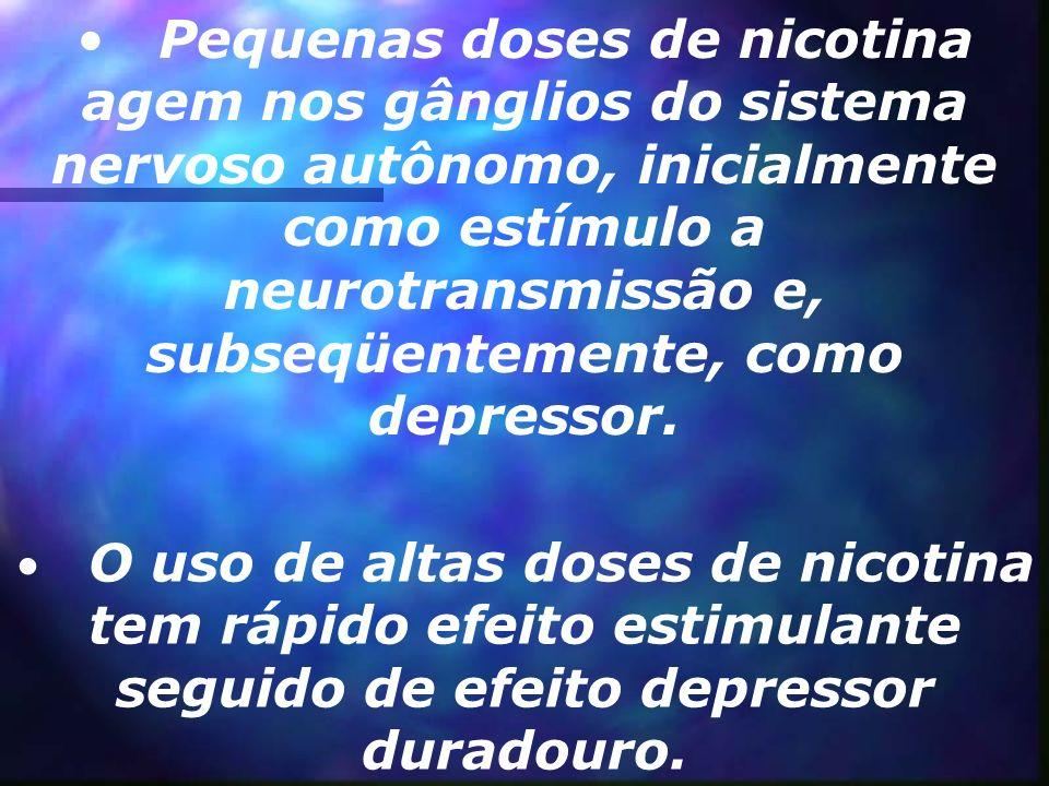 Pequenas doses de nicotina agem nos gânglios do sistema nervoso autônomo, inicialmente como estímulo a neurotransmissão e, subseqüentemente, como depressor.