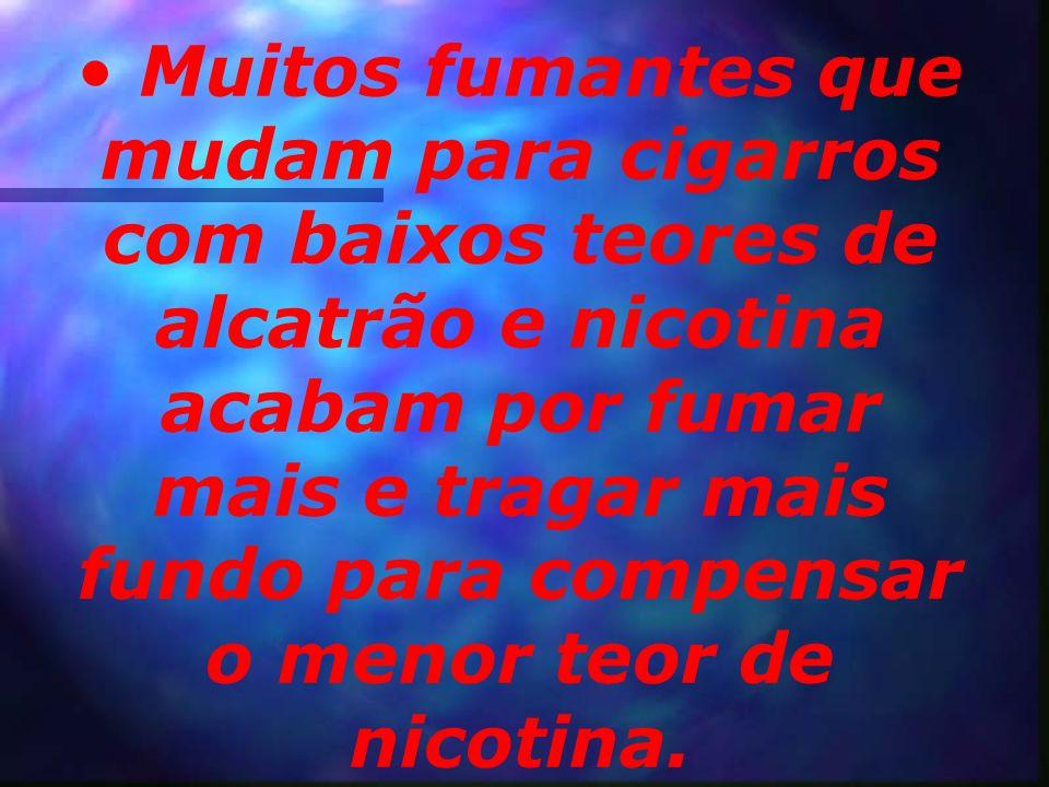 Muitos fumantes que mudam para cigarros com baixos teores de alcatrão e nicotina acabam por fumar mais e tragar mais fundo para compensar o menor teor de nicotina.
