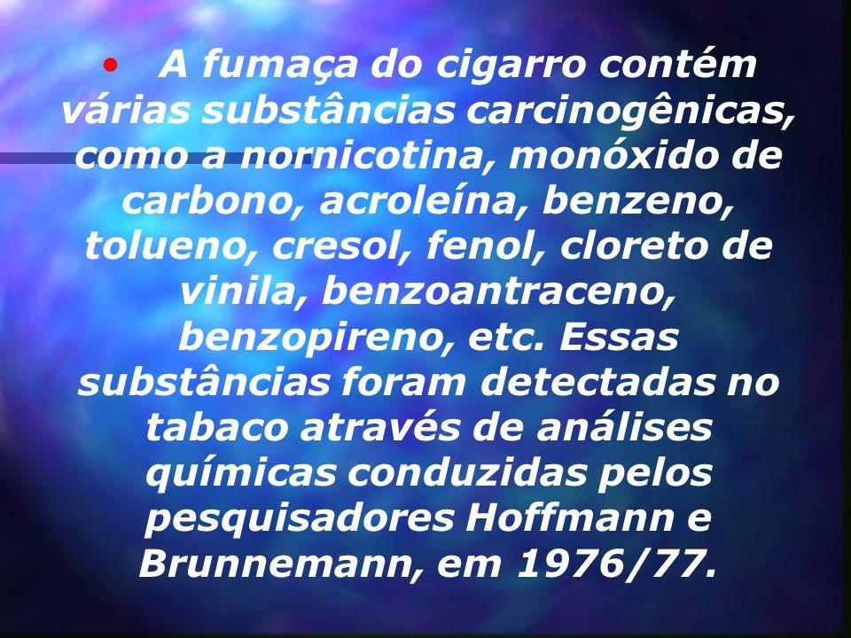 A fumaça do cigarro contém várias substâncias carcinogênicas, como a nornicotina, monóxido de carbono, acroleína, benzeno, tolueno, cresol, fenol, cloreto de vinila, benzoantraceno, benzopireno, etc.