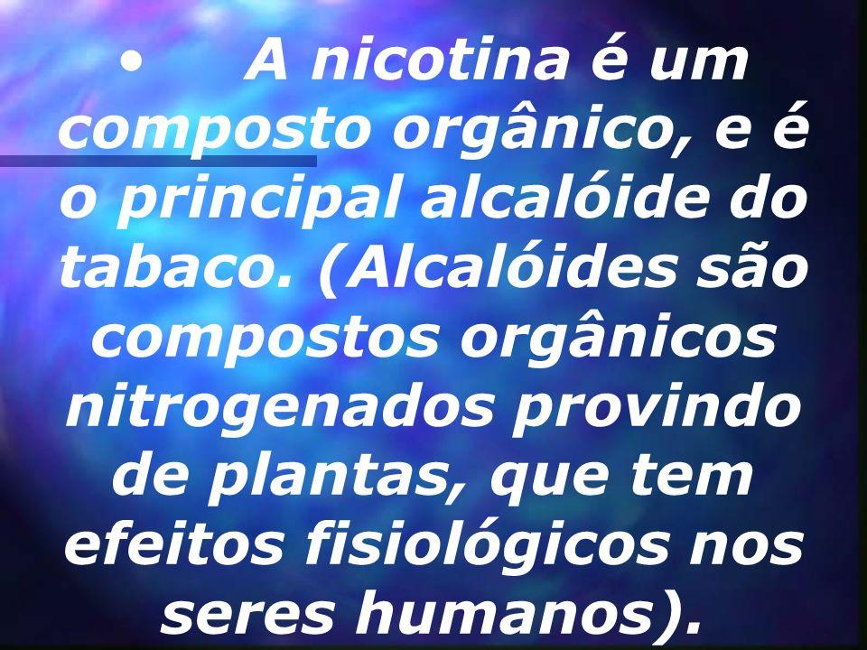 A nicotina é um composto orgânico, e é o principal alcalóide do tabaco