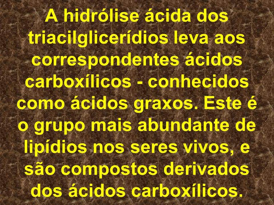 A hidrólise ácida dos triacilglicerídios leva aos correspondentes ácidos carboxílicos - conhecidos como ácidos graxos.