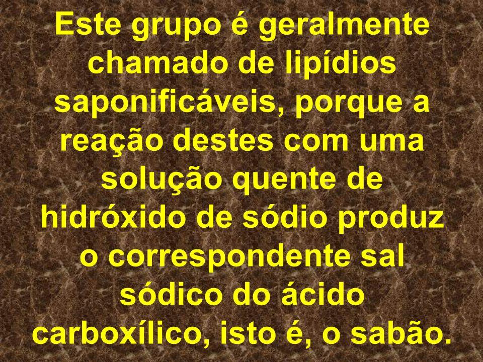 Este grupo é geralmente chamado de lipídios saponificáveis, porque a reação destes com uma solução quente de hidróxido de sódio produz o correspondente sal sódico do ácido carboxílico, isto é, o sabão.