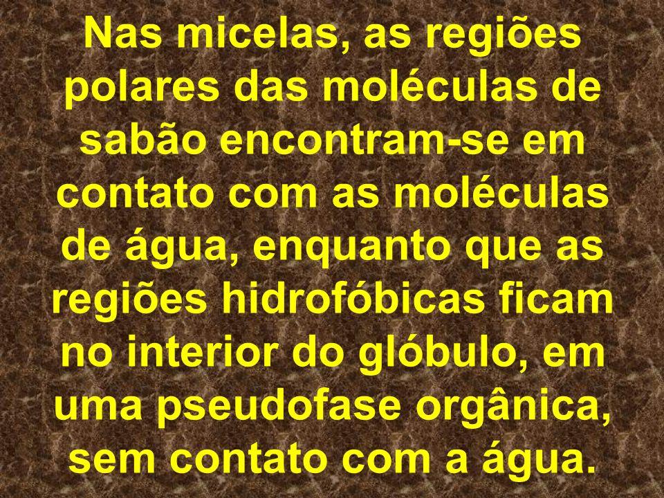 Nas micelas, as regiões polares das moléculas de sabão encontram-se em contato com as moléculas de água, enquanto que as regiões hidrofóbicas ficam no interior do glóbulo, em uma pseudofase orgânica, sem contato com a água.