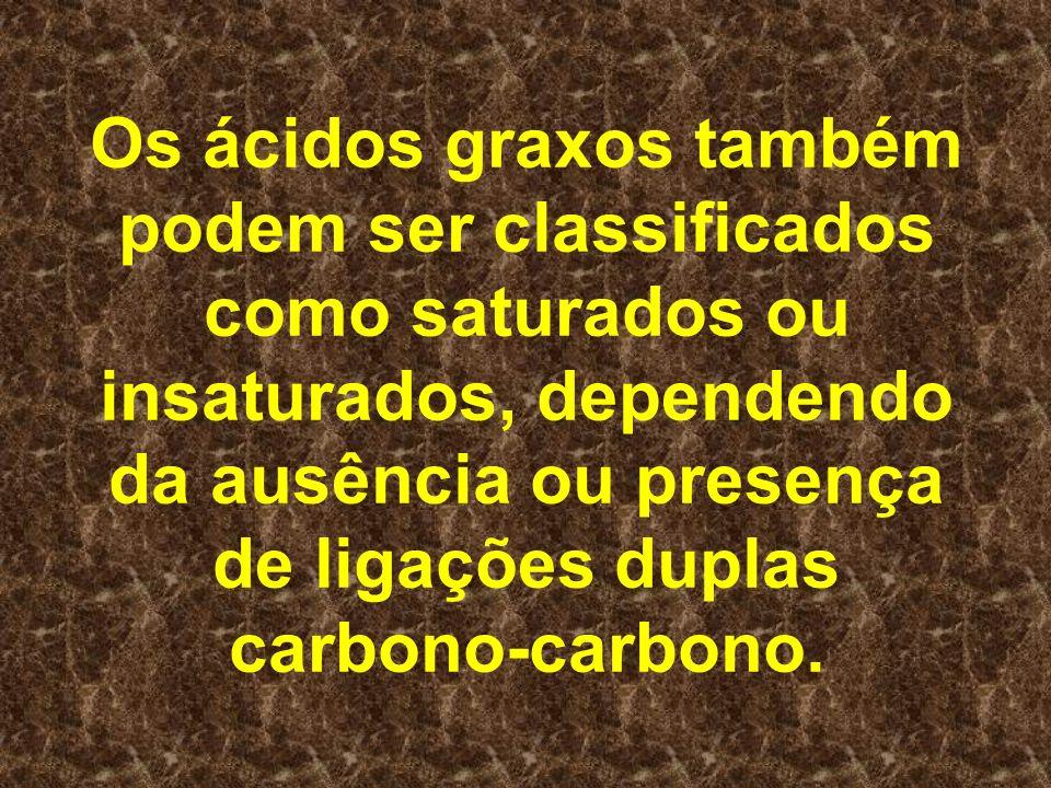 Os ácidos graxos também podem ser classificados como saturados ou insaturados, dependendo da ausência ou presença de ligações duplas carbono-carbono.