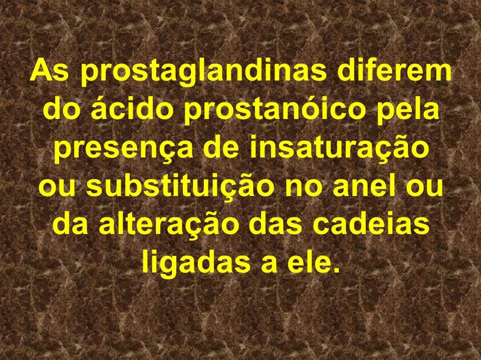 As prostaglandinas diferem do ácido prostanóico pela presença de insaturação ou substituição no anel ou da alteração das cadeias ligadas a ele.