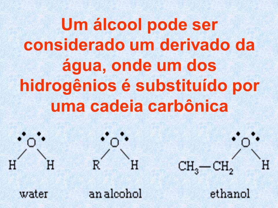 Um álcool pode ser considerado um derivado da água, onde um dos hidrogênios é substituído por uma cadeia carbônica