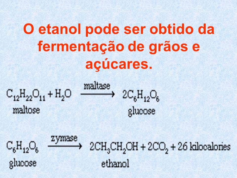 O etanol pode ser obtido da fermentação de grãos e açúcares.