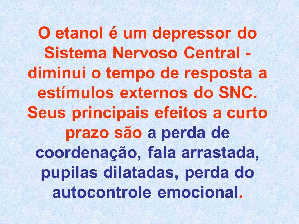 O etanol é um depressor do Sistema Nervoso Central - diminui o tempo de resposta a estímulos externos do SNC.