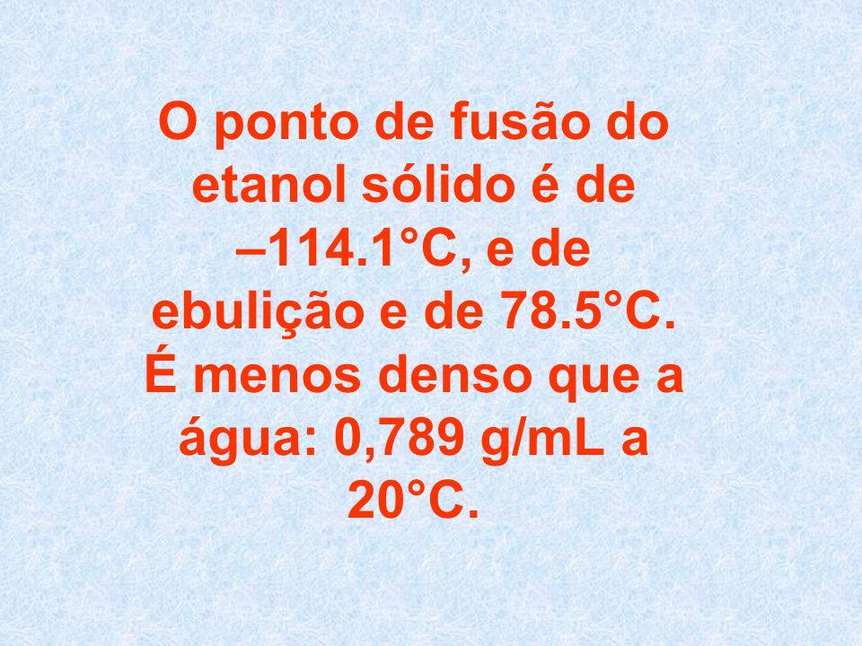 O ponto de fusão do etanol sólido é de –114.1°C, e de ebulição e de 78.5°C.