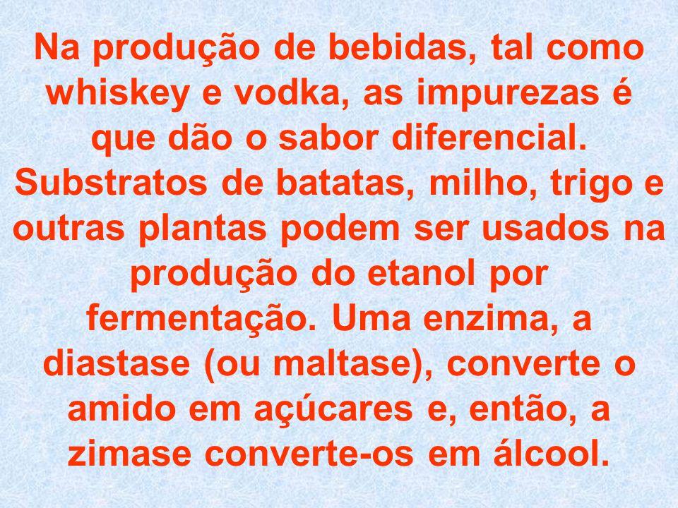Na produção de bebidas, tal como whiskey e vodka, as impurezas é que dão o sabor diferencial.