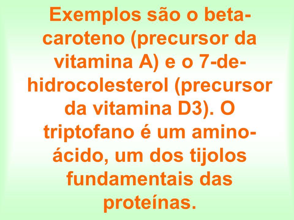 Exemplos são o beta-caroteno (precursor da vitamina A) e o 7-de-hidrocolesterol (precursor da vitamina D3).