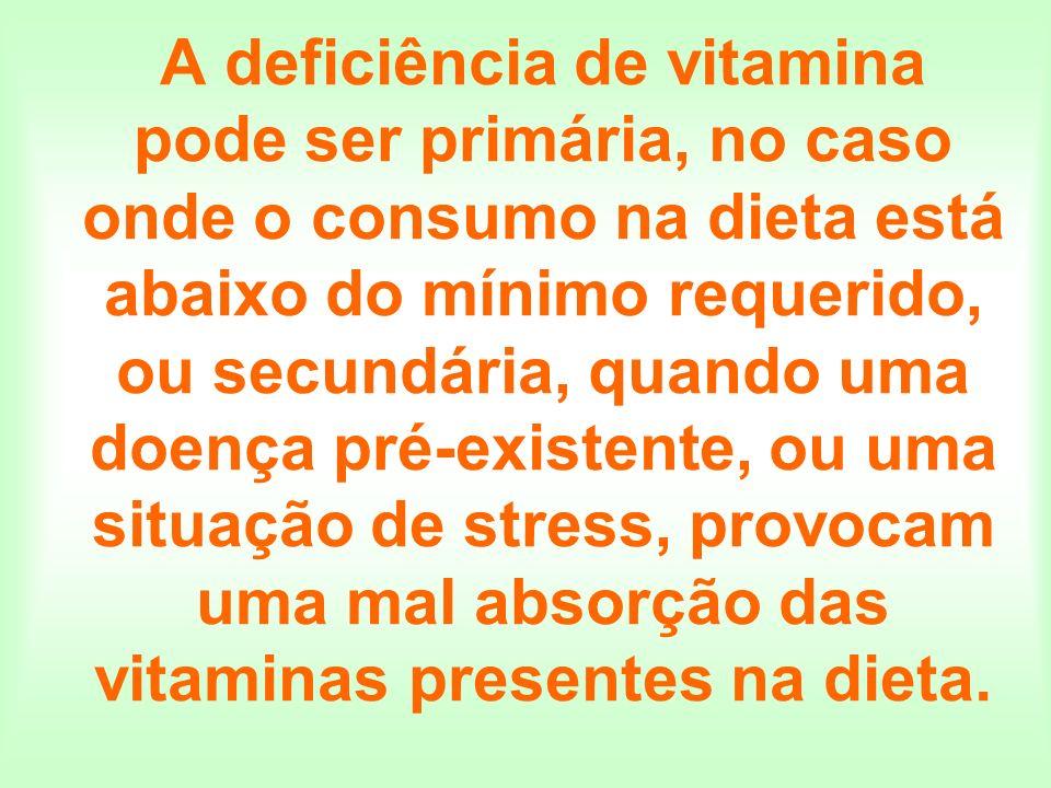 A deficiência de vitamina pode ser primária, no caso onde o consumo na dieta está abaixo do mínimo requerido, ou secundária, quando uma doença pré-existente, ou uma situação de stress, provocam uma mal absorção das vitaminas presentes na dieta.