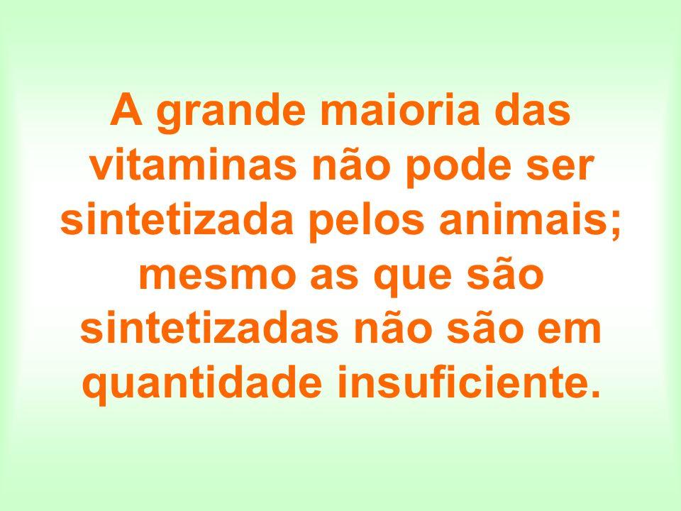 A grande maioria das vitaminas não pode ser sintetizada pelos animais; mesmo as que são sintetizadas não são em quantidade insuficiente.