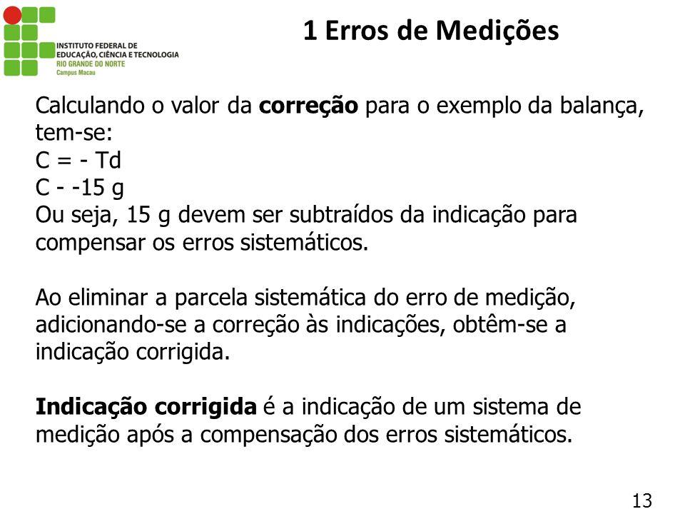 1 Erros de Medições Calculando o valor da correção para o exemplo da balança, tem-se: C = - Td. C - -15 g.
