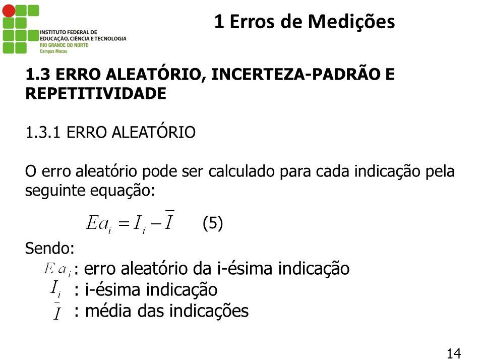 1 Erros de Medições : i-ésima indicação : média das indicações
