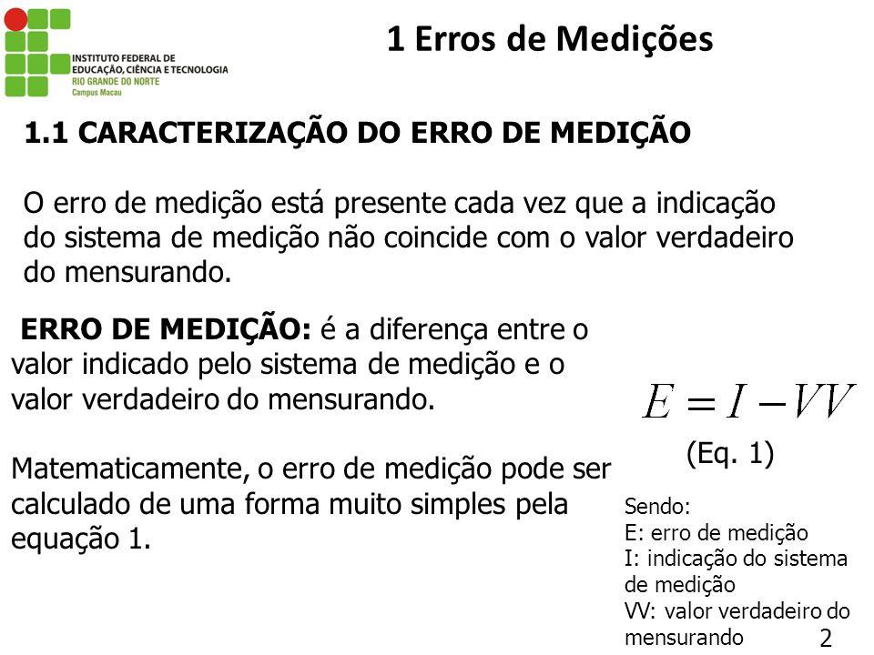 1 Erros de Medições 1.1 CARACTERIZAÇÃO DO ERRO DE MEDIÇÃO